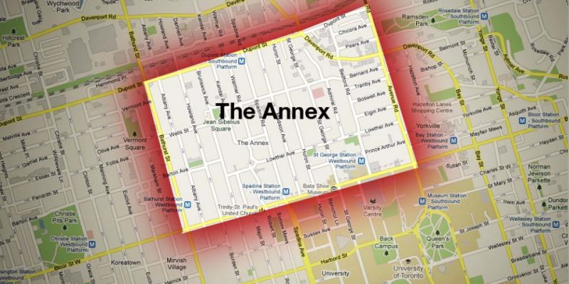 aerial map of the annex in toronto