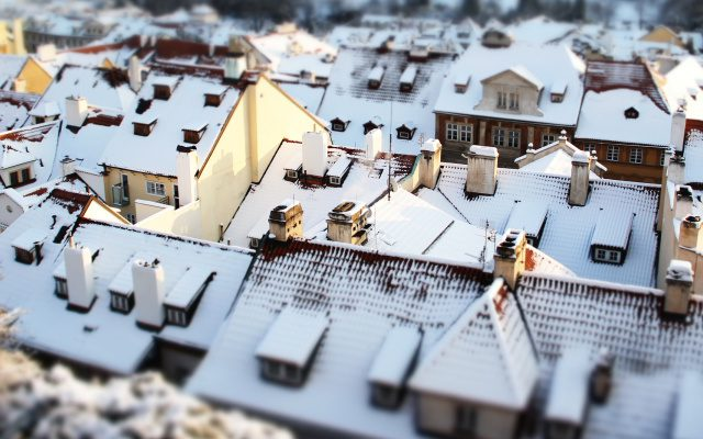 an aerial view of a snowy neighbourhood